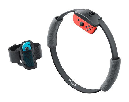 """由左边起是""""腿部固定带""""和""""Ring-Con""""。两者都是安装上Joy-Con的状态"""