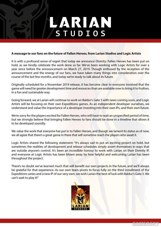 《神界:英雄再临》暂停开发 开发商将专注《博德之门3》